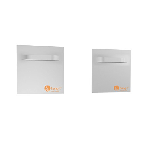 Spiegelbefestigung Set - 2 Stück Spiegelbleche für das Aufhängen von Spiegeln, Alu-Dibond, Plexiglas Platten - Tragkraft 10kg - Spiegelhalter von Hang-it