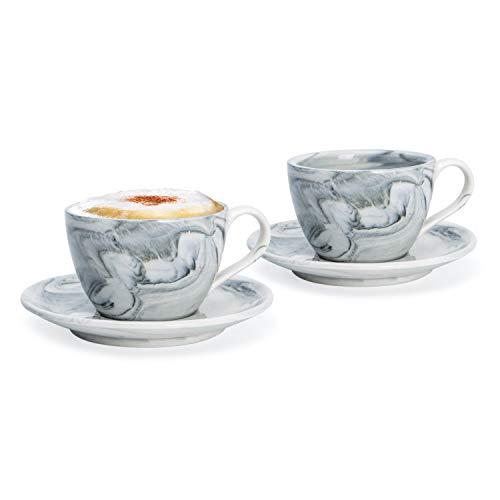 Hausmann & Söhne Cappuccino Tassen dickwandig | Set 4-TLG. | 2er Set Schwarze Marmor Tassen mit Untertasse | Porzellan | Tasse 170 ml (210 ml randvoll) | Tassen mit Untersetzer | Geschenkidee