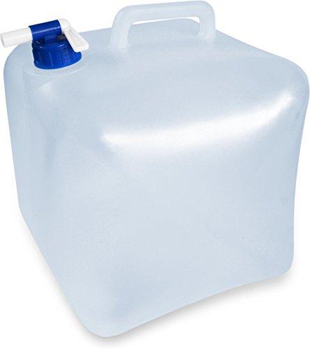 normani Faltbarer Falteimer Wasserkanister mit Hahn in verschiedenen Größen Farbe 10 Liter Größe Transparent