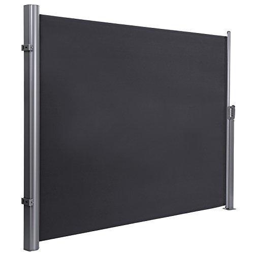 SONGMICS 200 x 350 cm (H x L), Seitenmarkise für Balkon und Terrasse, mit Bodenmontage, Sichtschutz, Sonnenschutz, Seitenrollo, rauchgrau, GSA205G