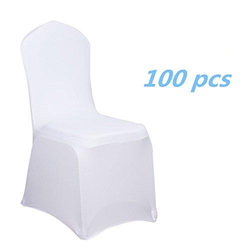 MCTECH Schleifenband Stuhlbezüge Stuhlhussen Stretch Acelectronic Stuhlüberzug moderne Stuhl Abdeckung für Hochzeiten und Feiern (100 Stück, Weiß)