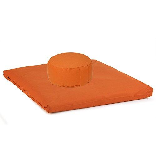 Medi-Set Basic I: Meditationskissen RONDO BASIC (Kapok) und Meditationsmatte ZABUTON BASIC 80 x 80cm, Meditationsset, Meditationsunterlage, Meditationszubehör, orange