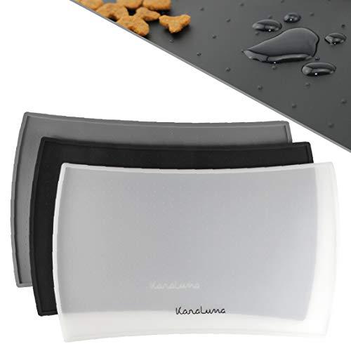 KaraLuna Napfunterlage 48x30cm für Katze und Hund I Aus hochwertigem Silikon mit hohem Rand I Wasserdicht & Rutschfest (48x30cm, transparent)