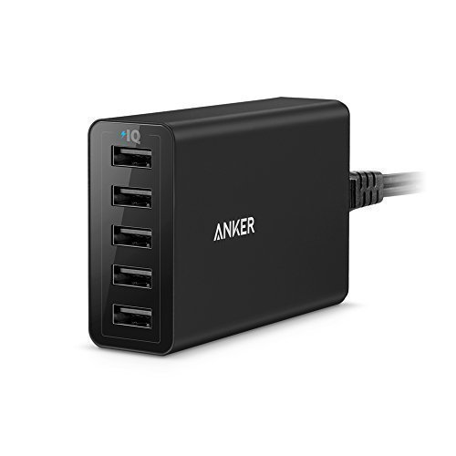 Anker PowerPort 40W 5-Port USB Ladegerät Multi-Port USB Ladegerät für iPhone 6 / 6 Plus, iPad Air 2 / mini 3, Galaxy S6 / S6 Edge und weitere (Schwarz)