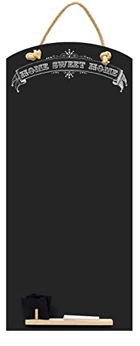 Kreidetafeln UK Sweet Home hoch dünn Kreidetafel/Tafel/Memo Küche Board mit Seil, Tablett und Kreide, Design Range, Holz, schwarz, 60x 26,5x 1cm