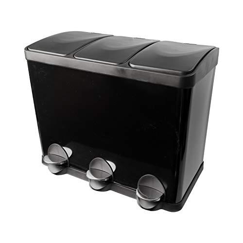 Steeldesign Trio Mülleimer mit 3 Fache Mülltrennung | Mülltrennungssystem | Design Treteimer mit 45 Liter | Hochwertige Abfalleimer | Schwarz | Geruchsdicht (Schwarz, 45 Liter 3*15L)