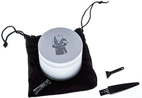Magic Sweeds Nanokeramik Grinder/Ceramic Grinder/Ø 63 mm/mit Keramik beschichtete Kräutermühle inkl. Tragetasche, Pollenscraper, Reinigungsbürste und Mundstück (weiß, Ø 63 mm)