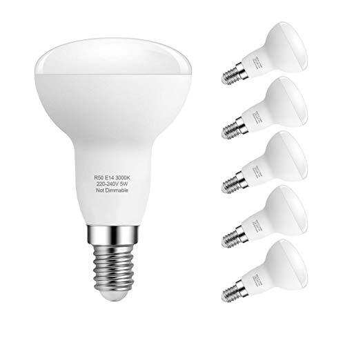 5W E14 LED Lampe, R50 Reflektorlampe, Warmweiß 3000K E14 LED Glühbirnen Nicht Dimmbar, Ersetzt 40W Traditionelle Energiesparlampe, 180 ° Abstrahlwinkel, 6er Pack