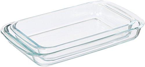 AmazonBasics - Rechteckige Auflaufformen aus Glas - 2 Stück
