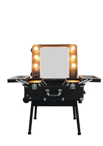 Friseur-Beauty-Visagisten Studio - zusammenklappbar im Trolley-Koffer incl. Beleuchtung
