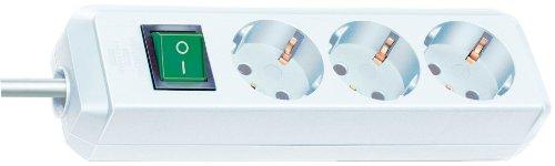 Brennenstuhl Eco-Line, Steckdosenleiste 3-fach (mit Schalter und 1,5 m Kabel - besonders stromsparend) weiß