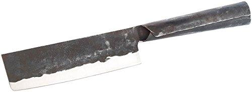 TokioKitchenWare Nakiri Messer: Nakiri Hackmesser mit Stahlgriff, handgefertigt (Hack-Messer)