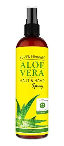 Aloe Vera SPRAY für Haut & Haar - 99% Bio, 355 ml - 100% Natürlich, Rein & Ohne Zusatzstoffe - Extra Stark - OHNE VERDICKUNGSMITTEL, zieht schnell ein ohne Rückstände - aus ECHTEM SAFT, NICHT PULVER