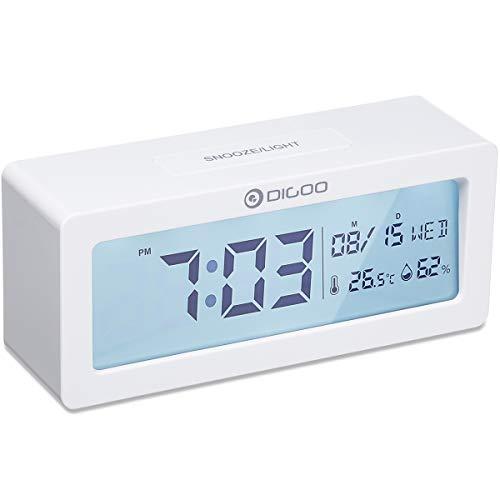 Digital Wecker, DIGOO Alarm Clock Digitaluhr Tischuhr Snooze uhr mit wetterstation Thermo-Hygrometer, große LCD-Ziffern , Hintergrundbeleuchtung Schlummerfunktion, Batteriebetrieben Energieeffizient ohne ticken, Weiß
