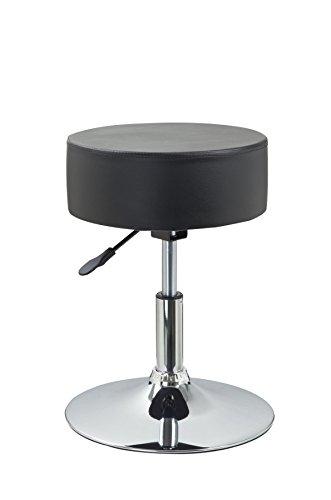 Drehhocker Sitzhocker Schwarz Hocker RUND höhenverstellbar aus Kunstleder Duhome 0461