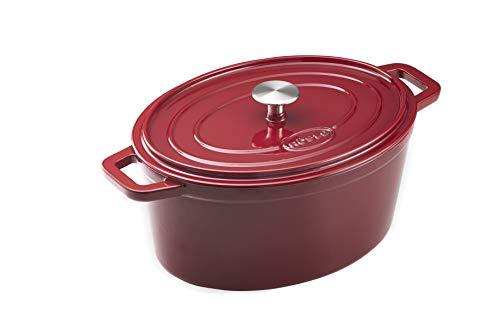 Rösle Bräter oval Dark Red,emailliertem Gusseisen, temperaturbeständig bis 400 °C,6 Liter, Höhe: ca.13cm,Ideal zum Anbraten und für Schmorgerichte und Brotbacken,Farbe Rot