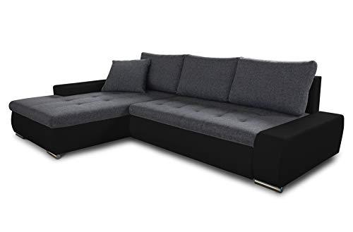 Ecksofa mit Schlaffunktion Aspen - Couch mit Bettkasten, Big Sofa, Sofagarnitur, Couchgarniitur, Polsterecke, Bett (Schwarz + Graphit (Madryt 1100 + Inari 94), Ecksofa Links)