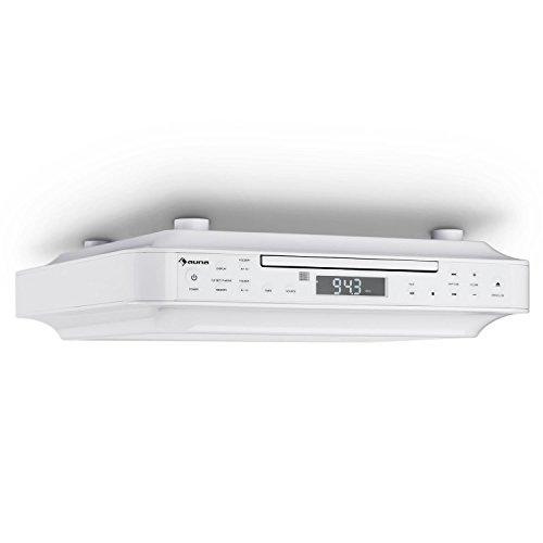auna KRCD-100 BT • Unterbau-Radio • Küchenradio • CD-Player • Wecker • Timer • UKW-Radio • Bluetooth • MP3 • LCD-Display • 29 x 8 x 26,5 cm (BxHxT) • ca. 1,2 kg • Leistung 2 x 12 Watt RMS • weiß