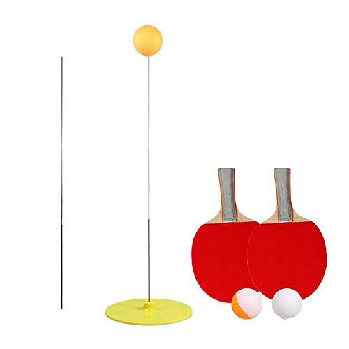 Jannyshop Tischtennistrainer mit elastischem, weichem Schaft, elastischer Stange, 90 cm Dekompressionssport, 2 Tischtennispaddel und 3 Tischtennisball-Set, Indoor-Outdoor-Spiel