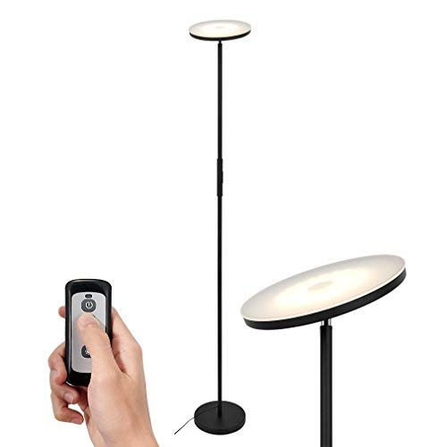 SIMPLEHOME Schwarzer LED Deckenfluter 20W, moderne LED Stehlampe stufenlos dimmbar mit 3 Lichtfarben(warmweiß, kaltweiß, neutralweiß) + Fernbedienung, perfekte Ambientbeleuchtung.