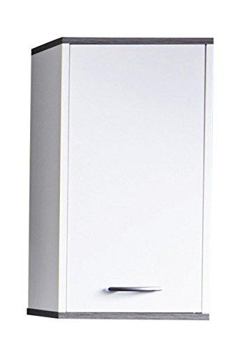 trendteam Badezimmer Hängeschrank, Wandschrank California, 32 x 60 x 21 cm in Weiß, Absetzung Rauchsilber mit viel Stauraum und einem verstellbaren Einlegeboden