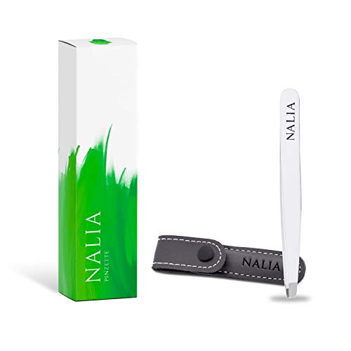 NALIA Profi Pinzette mit Reiseetui – Einfach schonendere Haarentfernung! - Optimal für Augenbrauen Zupfen und Wimpernverlängerung - Augenbrauenpinzette