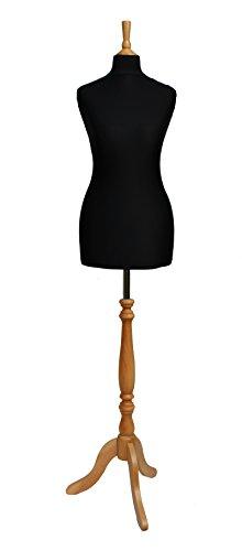 The Shopfitting Shop Deluxe-Größe 10/12weiblich Schneiderpuppe Schneiderbüste Büste Schaufensterpuppe schwarz Jersey Buche Effekt Stativ Ständer aus Holz