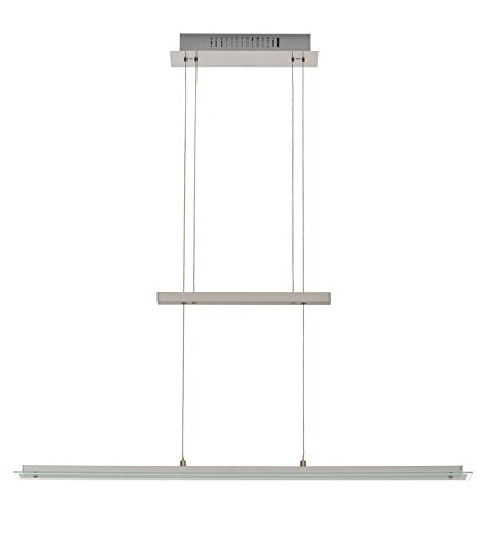 Trango Design LED Pendelleuchte, Esstischleuchte höhenverstellbar - Edelstahl-Look (Edelstahl-Look-TG2013-042)