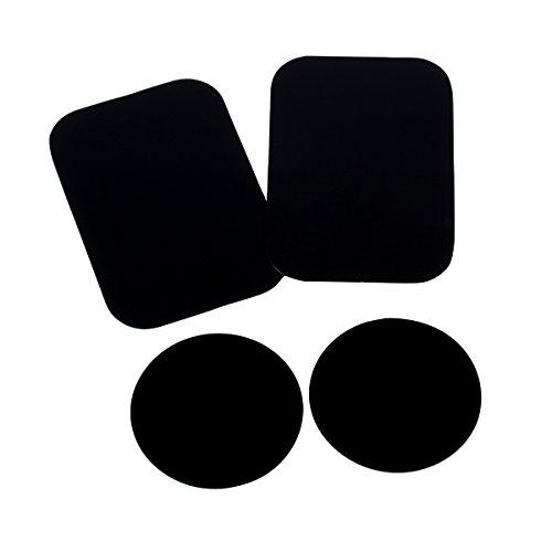 MEACOM Metallplättchen Set 4 Stück Handy Halterung Metall Plättchen Ersatz 3M-Rückseite Magnet KFZ Halterungen Metallplatte Phone Halter Platte für Handy und GPS(2 Rechteck und 2 Runde)