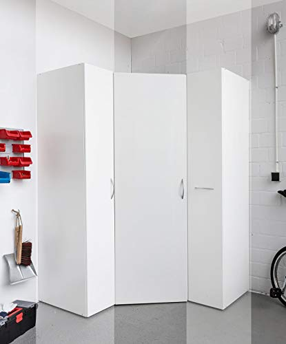 lifestyle4living Eckschrank in weiß, begehbarer Kleiderschrank, Stauraumschrank auch für Garagen und Keller
