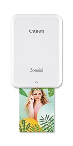 Canon Zoemini Mobiler Mini-Fotodrucker (Akku, 5 x 7,5 cm Fotos, ZINK-Druck tintenfrei, für Handys iOS und Android via Bluetooth, 160 g) weiss