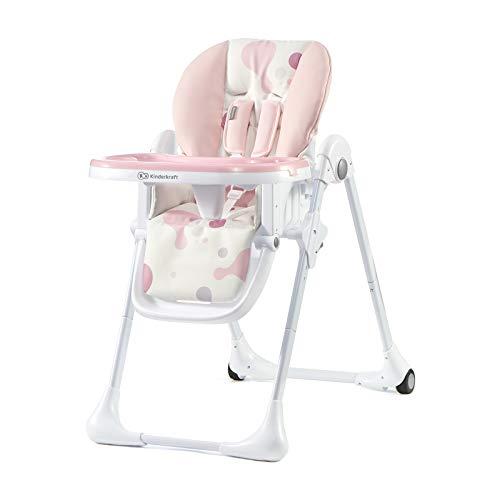 Kinderkraft Hochstuhl Baby YUMMY Kinderhochstuhl Babystuhl Kombihochstuhl ab den ersten Lebensmonaten halb liegende Position Bezug aus PU einfach zu reinigen Rosa
