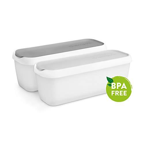 2er-Set Eisbehälter 1L | Aufbewahrungsbehälter für Speiseeis | Gefrierdosen | Eis-Container BPA-frei in Lebensmittelqualität