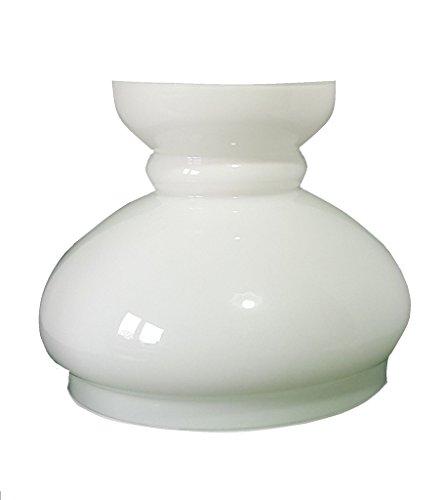 Groß weiße Glasersatz Öllampe Schornsteinhaube. Breite an der Basis 19cm Durchmesser, Höhe 17.5cm, maximaler Durchmesser 22cm.