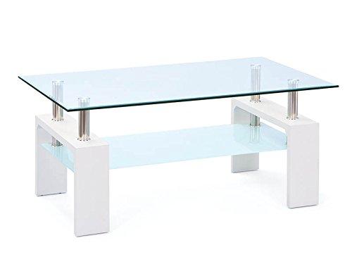 Inter Link 50100040 Couchtisch Glas Weiß Wohnzimmertisch Wohnzimmer Tisch Beistelltisch 110x60 cm