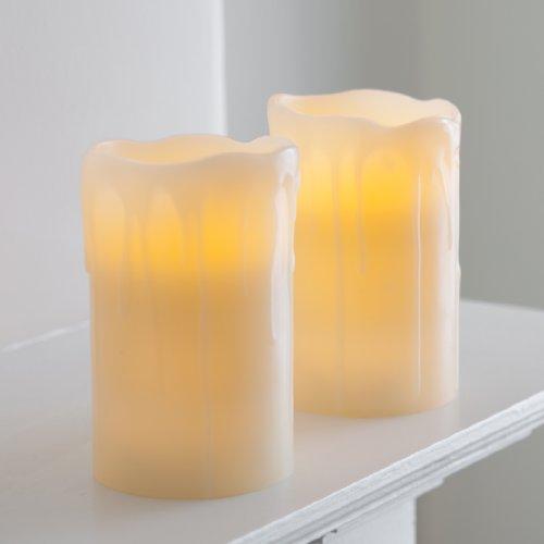 2er Set LED Kerzen Echtwachs mit Timer batteriebetrieben Lights4fun