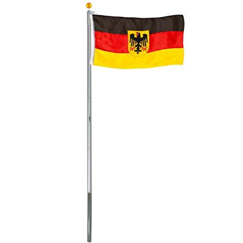 BRUBAKER Aluminium Fahnenmast Flaggenmast 6,20 m inklusive Deutschland Flagge + Deutschland Flagge mit Adler 150 x 90 cm und Bodenhülse