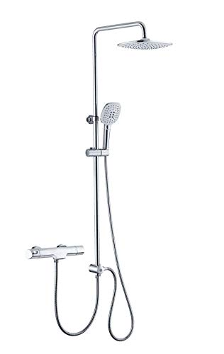 Homelody Duschsystem Thermostat Trennbar Duschset mit Wasserhahn 3-Funktionen Regendusche Duscharmatur Dusche Shower Duschsäule für Bad/Badewanne