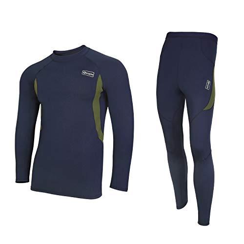 UNIQUEBELLA Thermounterwäsche Funktionswäsche Herren Skiunterwäsche Winter Suit Ski Thermo-Unterwäsche Set Thermowäsche Unterhemd + Unterhose Dunkelblau L