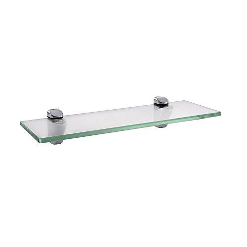 KES Bad Glasablage Gehärtes Glas (8mm, 14-Zoll) mit Wandhalterung, Chrom Poliert, BGS3202S35