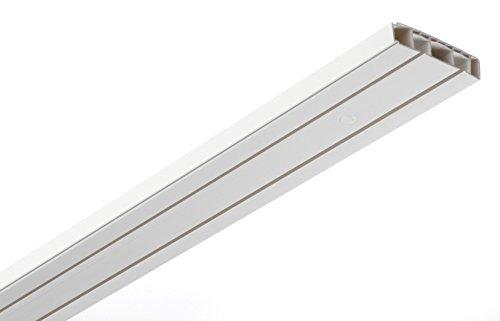 GARDINIA Vorhangschienen Set, Komplett-Set mit 2-läufiger Schiene, Inkl. Befestigungsmaterial, 240 cm, Weiß