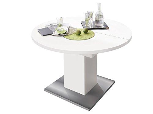 Esszimmertisch Tisch Esstisch Küchentisch Speisentisch Holztisch 'Judd II' weiß matt/Edelstahloptik