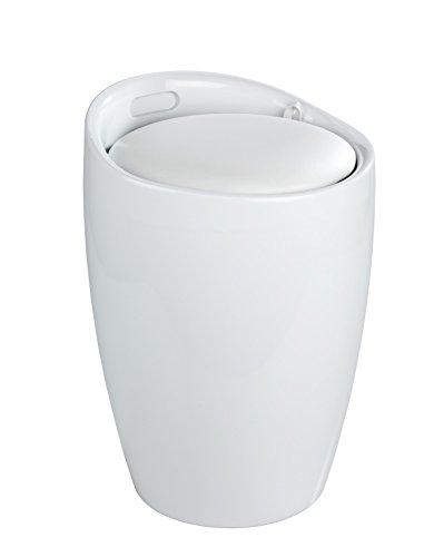 Wenko Hocker Candy White I Weißer Badhocker aus Kunststoff mit abnehmbarem Wäschesack aus 100% Polyester, Ø: 36 cm x H: 50,5 cm