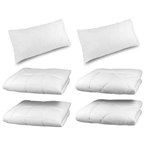 4 Jahreszeiten Microfaser Bettdecke 135x200 cm :: Allergiker geeignet :: 6-tlg. bestehend aus 2 x Steppbett + 2 x Übergangsbett + 2 x Kissen