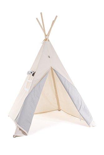 Kinder Teepee Tipi Set für Kinder Spielzeug drinnen draußen Spielzelt Zelt 8 Elemente dabei Tipi-Set Indianer Indianertipi mit Fenster usw. (Tipi ohne Elementen, Grauer Wolf)