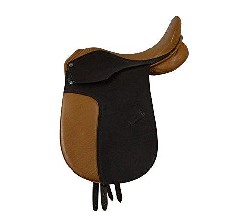 Campale Dressursattel Oxford 16 Zoll Leder Pferdesattel Pony Shetty Pferd Dressur Sattel (Kammerweite 14,5 cm)