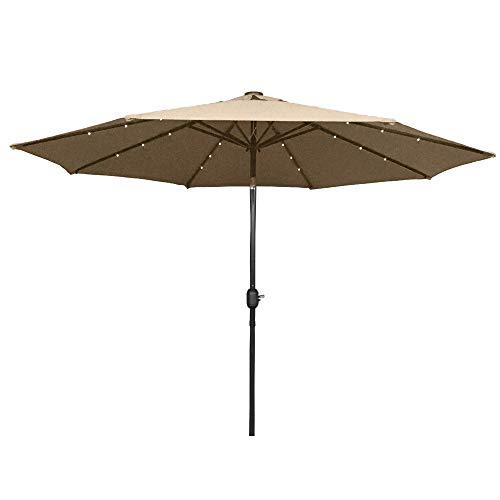 HENGMEI 300cm ALU Sonnenschirm Gartenschirm Terrassenschirm Marktschirm Ampelschirm Strandschirm Kurbelschirm mit UV Schutz 40+ für Balkon, Garten, Terrasse (300cm mit LED, Khaki)