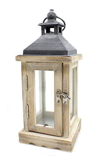 DARO DEKO Holz Laterne mit Echt-Glas Scheiben braun schwarz 10cm x 10cm x 25cm