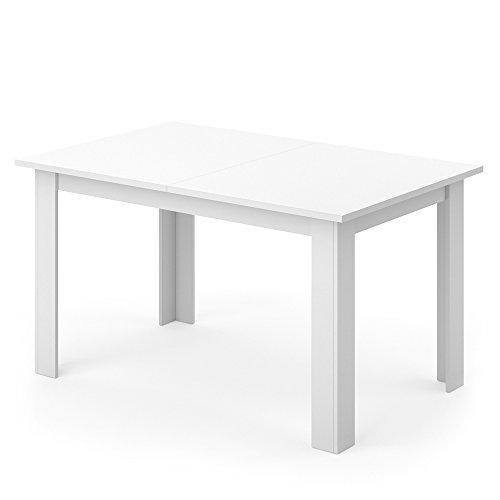VICCO Esstisch KARLOS 140cm Weiß Nussbaum Esszimmertisch Wohnzimmer Küchentisch +++ mit kratzfester robuster Melaminharz-Oberfläche +++ (Weiß)