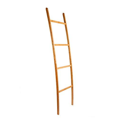 ZRI Bamboo Leiter Handtuchhalter Handtuchständer Regal mit 4 Stangen, super eleganter Kleiderständer für Badezimmer Wohnzimmer, Bambus/Natur Braun